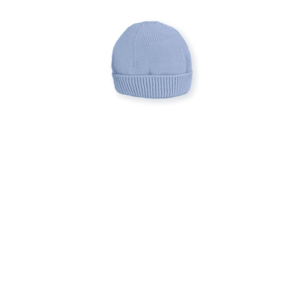 Blauw gebreid baby mutsje van Mac ilusion