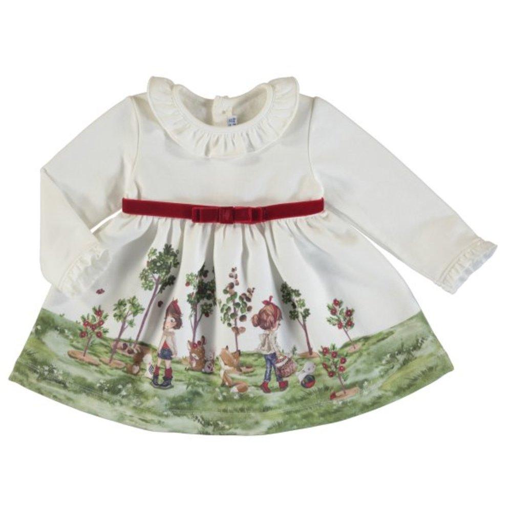 Creme jurkje met print van Mayoral