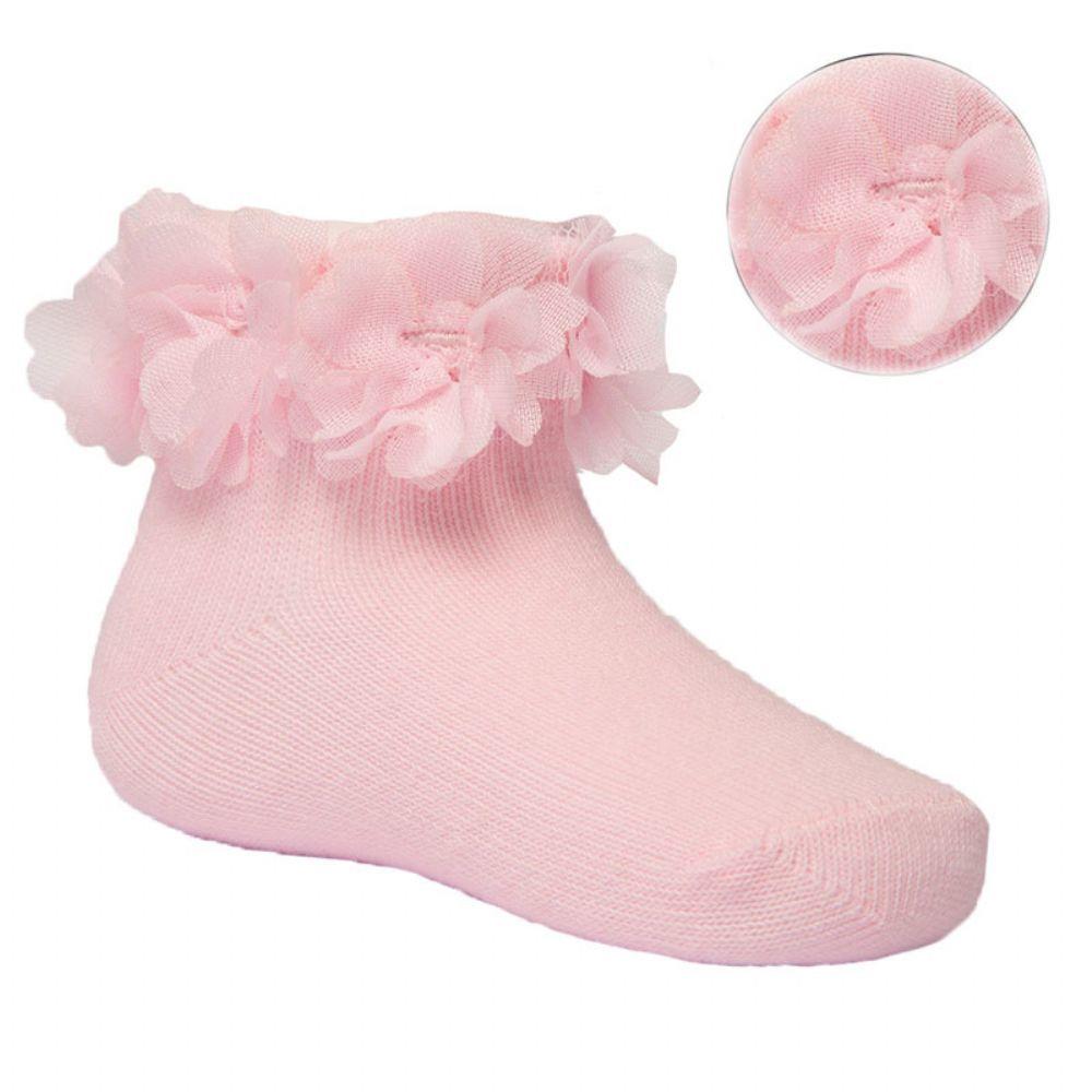 Roze sokjes met bloemetjes