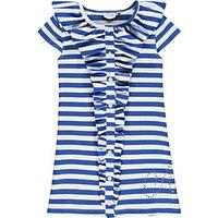 Blauw met wit gestreepte jurk van Adee