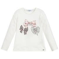 Creme tshirt met roze strikjes van Mayoral