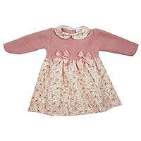 Oud roze gebreid jurkje met bloemetjes