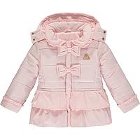 Roze winterjas met strikken van Adee