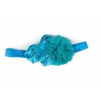 Haarbandje 4 bloemen aqua