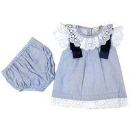 Mintini baby jurkje met streepjes en broderie